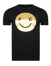 French Connection Summer Black Gold Foil Fashion T-Shirt Slim Fit Cotton Tee