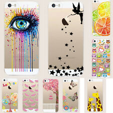 Silicone Pittura gomma TPU Custodia Cover posteriore per iPhone 7 5 SE 6 6S Plus