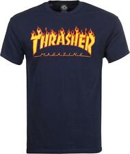 THRASHER T SHIRT FLAME MAG LOGO NAVY