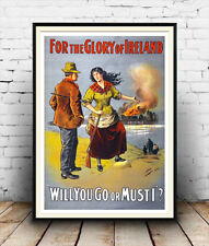 For the glory of Ireland : Reproduction  political war, poster, Wall art.