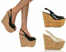 Ladies High Wedge Heel Cork Platform Womens Patent Peep Toe Shoes Sandals Size