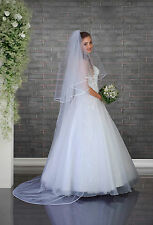 """NEW White Ivory Wedding Bridal 2 Tier Cathedral Simple Veil 91"""" - Satin Edge"""
