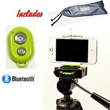 Cell Phone Tripod Adapter - Bluetooth Remote Control - Travel Bag - iPhon...