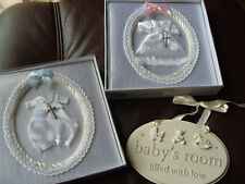 Baby Christening Gift Girl OR Boy Photo Album with silver cross OR Baby PLaque