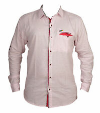 Zedx casual long sleeve Solid/plain single cuff Light Pink shirt for Men's
