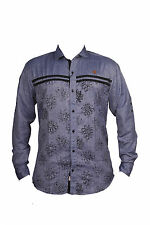 Zedx casual long sleeve Solid/plain single cuff Blue-Grey shirt for Men's