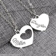 Matching Silver Mother & Daughter Heart Necklaces - Xmas Gifts For Her Mum Women
