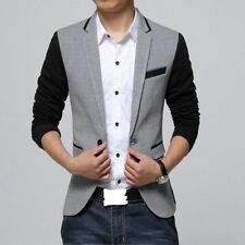 Men Grey Blazer Brand New Cotton Mix Fashion Casual Designer Slim Fit Party Wear