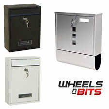 New Lockable White Black Stainless Steel Letterbox Mailbox Post Box Outdoor Wall