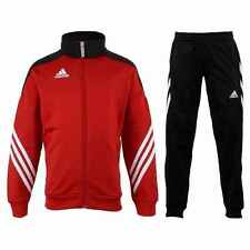 Boys adidas tracksuit Kids Full Zip Football Tracksuits Bottoms Jogging Red
