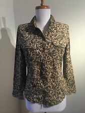 NEW Green Beige Long Sleeved Next Cord Floral Shirt Blouse UK 6, 8 or 10 RRP £26
