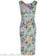 PRETTY KITTY GREEN FLORAL BUTTERFLY PRINT VINTAGE COCKTAIL WIGGLE PENCIL DRESS