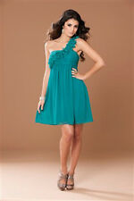 Frock & Frill  One Shoulder Ruffle Party Prom Dress Teal size 8           101