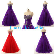 STOCK New Long Formal Quinceanera Dress Bead Formal Evening Party Prom Size 6-18