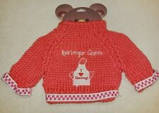 Pink Knitted Teddy Bear Sweater Embroidered for 10