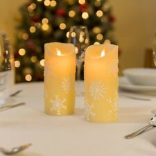 2 Real Wax Flameless LED Christmas Candles Battery Flickering Flame Candle Set