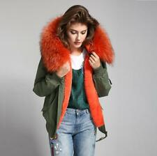 2018 Women REAL FUR Hood BOMBER Coat Army Jacket Parka