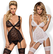 OBSESSIVE Swanita Luxury Lace Corset, Suspender Straps and Matching Thong Set