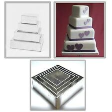 4 Tier Square Extra Deep Multilayer Wedding Cake Baking Pans Tin... New Free P&P