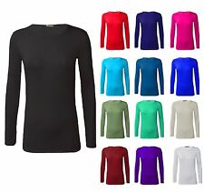 Womens PLUS SIZE Long Sleeve Stretch Plain Scoop Neck Ladies Tshirt Top