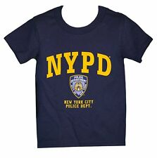 NYPD Kids Short Sleeve Screen Print T-Shirt Navy Yellow New York Police Youth