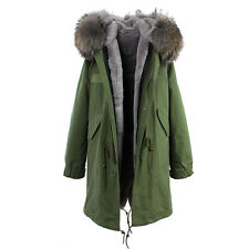 UNISEX LONG Warm Luxury Colored REAL FUR Coat  Hood  Jacket Parka