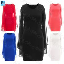 Womens Ladies Stretchy tunic bodycon Chiffon Batwing Sleeves Pencil Mini Dress