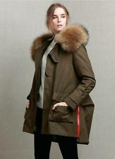 Warm Womens Fur Hood Down Coat Parka LARGE REAL Fur Jacket