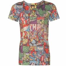 LADIES WOMENS RETRO MARVEL AVENGERS THOR HULK IRONMAN COMIC BOOK STRIP T-SHIRT