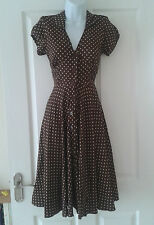 NEW Hell Bunny - Pin Up Vintage 50/40s Dress Harriet Brown Polka Dot XS 8