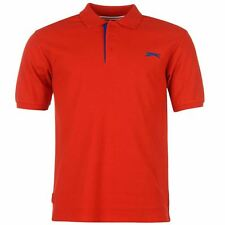 MENS PLAIN RED SLAZENGER SHORT SLEEVE GOLF TENNIS POLO SHIRT