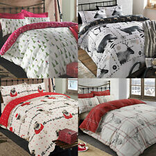 Christmas Quilt Duvet Cover with Pillowcase Bedding Set Xmas Tree Stag Ski Santa
