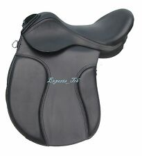 """""""NEW"""" Black Leather Treeless GP (jumping) Saddle 16"""" 17""""& 17.5"""" with accessories"""