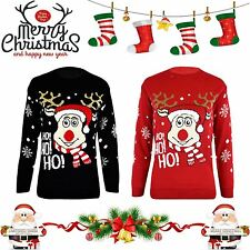 Unisex Knitted Xmas HO!HO!HO! Rudolf SANTA Novelty Christmas Jumper Sweater TOP