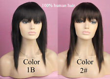 """Women Wigs Human Hair 17"""" Straight Pixie Bangs Natural Looking Sexy Full wigs"""