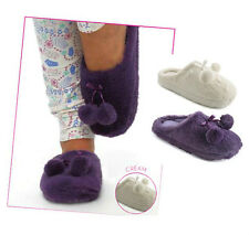 LADIES WOMENS MULE SLIPPERS FAUX PLUSH FUR LINED NON SLIP ON SOLE POM POM GIFT