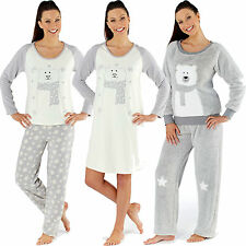 Ladies Fleece Polar Bear Lounge Pyjamas Nightdress Snuggle Night wear Sizes 8-18