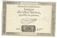 France Revolution assignat royal 10 livres 1791 /  French note 10 pounds