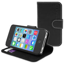 Leather Executive Wallet Flip Case Cover Card Pouch for Apple iPhone 4 4S