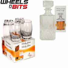 NEW 255ML GLASSES GLASS WHISKEY WINE TUMBLERS & SQUARE DECANTER BOTTLE BOXED SET