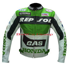 HONDA GAS REPSOL GREEN MOTORCYCLE REAL COWHIDE LEATHER MEN'S JACKET-FREE UK SHIP