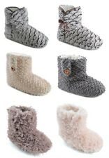 LADIES WOMENS FAUX FUR BOOTIE BOOTS SLIPPERS ANKLE MOTHERS DAY GIFT WARM FUN