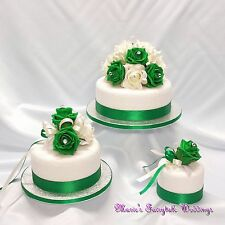 WEDDING FLOWERS ROSES CAKE TOPPER PACKAGE, PEARLS/DIAMANTE, EMERALD GREEN-IVORY