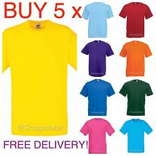 5 Pack Hombre Mujer Fruit of the Loom Liso 100% algodón camiseta