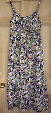 Stunning fully lined maxi dress Boden size 10 scoop neck greens & purples VGC