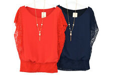 LADIES ITALIAN CHIFFON BLOUSE WITH DETAILED LACED SIDE PANEL AND ARMS 009