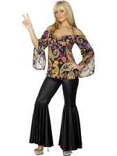 Ladies Hippie Fancy Dress Costume Ladies Black 60s and 70s Costumes