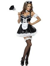 Flirty French Maid Fancy Dress Costume Ladies Black French Maid Costumes