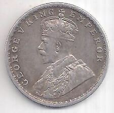 BRITISH INDIA GEORGE V KING 1916 EXTREMELY RARE SILVER ONE RUPEE COIN