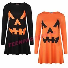 Women Ladies Halloween Fancy Costume Party Pumpkin Face Print Skater Swing Dress